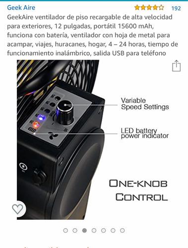 ventilador geek air de baterias duración 8 a 24 horas