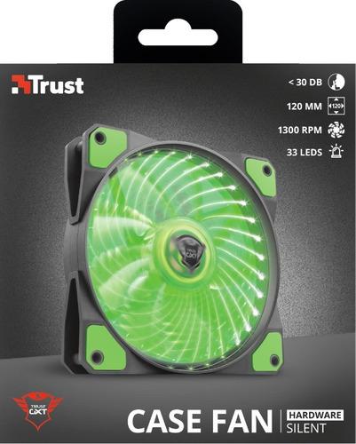 ventilador led illuminated silent gxt 762r verde - trust