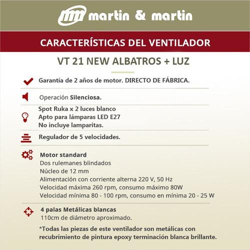 ventilador martin & martin new albatros blanco con luz rukax2