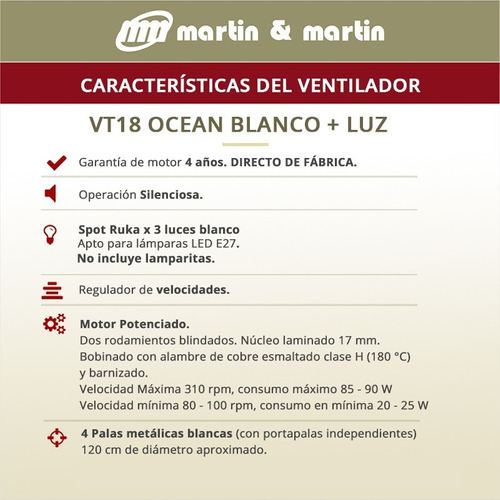 ventilador martin & martin potenciado ocean blanco con luz ruka x3, palas madera o metal, motor potenciado, garantia