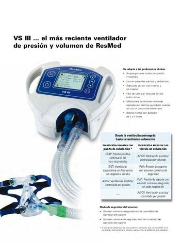 ventilador mecanico resmed vsiii (presion,volumen,cpap)