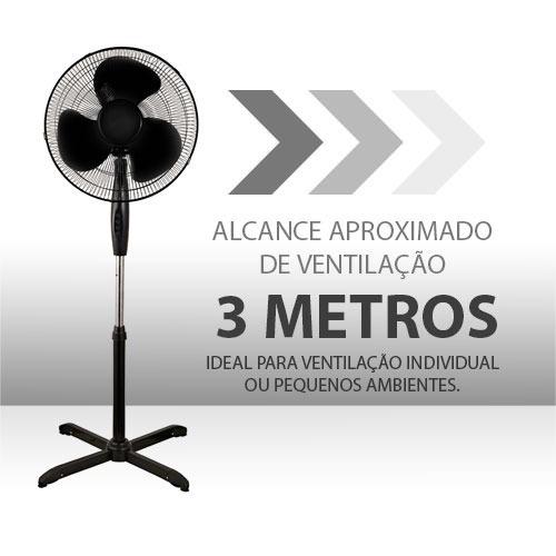 ventilador pedestal coluna 40cm preto 110 ou 220 kit 2 peças