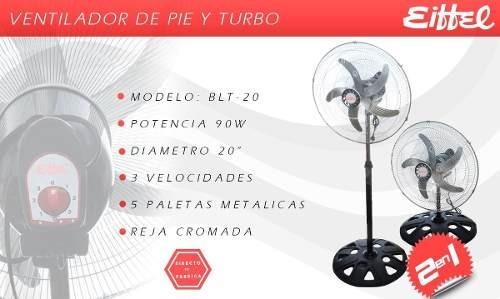 ventilador pie eiffel turbo 20  nuevo gtía 5 paletas metal