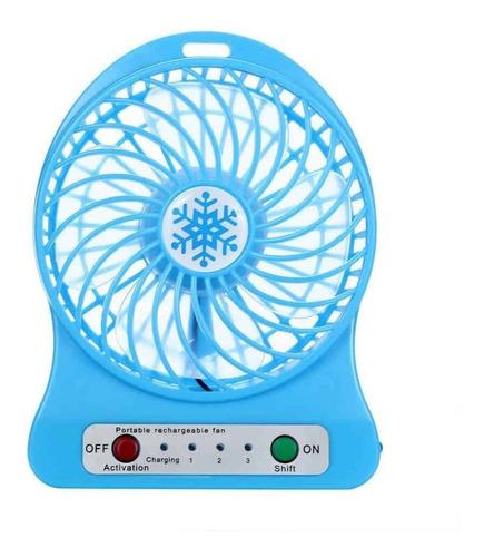 ventilador portatil de mesa recargable usb 3 velocidades led