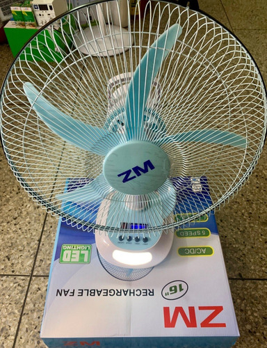 ventilador recargable 110v 16pulg +8hr luz led somos tienda-