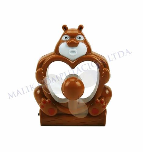 ventilador recargable de escritorio con forma de oso