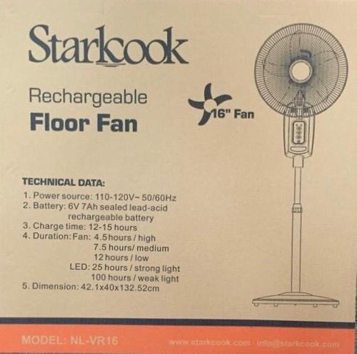 ventilador recargable de pedestal 16plg marca starkcook