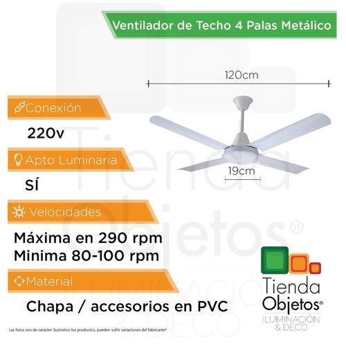 ventilador techo 4 palas metalico colores coutas premium