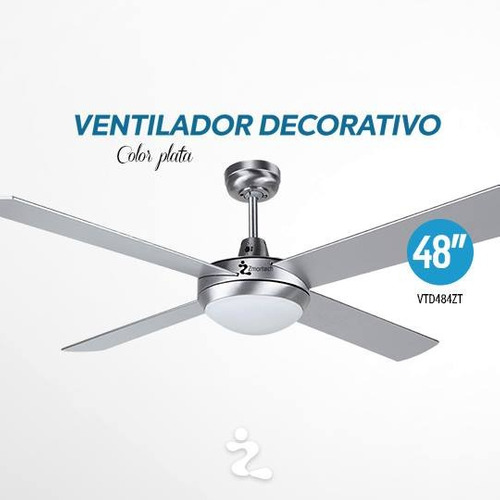 ventilador techo 48 pulg plata c/lamp msi zmartech vtd484zt