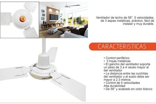 ventilador techo 56in aire frío  5 vel  aspas control remoto