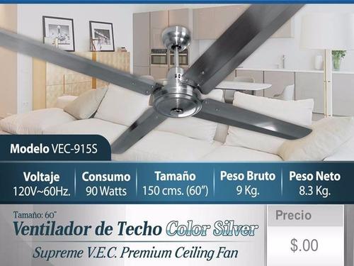 ventilador  techo acero inoxidable 60¨ supreme vec vec-915s