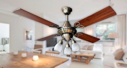 ventilador techo martin gea antique potente + spot vidrio
