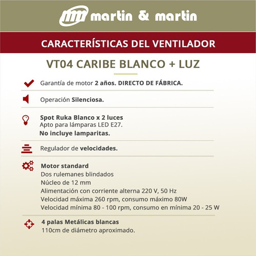 ventilador techo martin & martin caribe blanco luz spot ruka x2 garantía