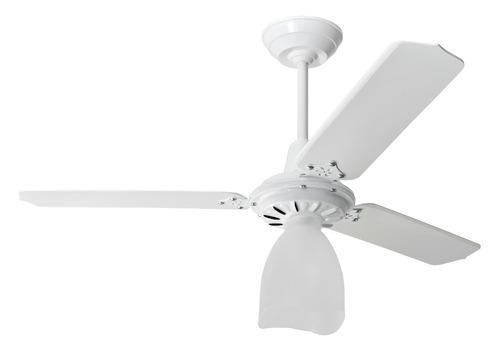 ventilador teto branco 1 lâmpada pás brancas loren sid 127v