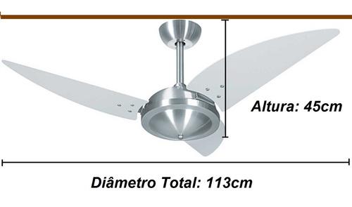 ventilador teto platinum class 3 pás super luxo silencioso