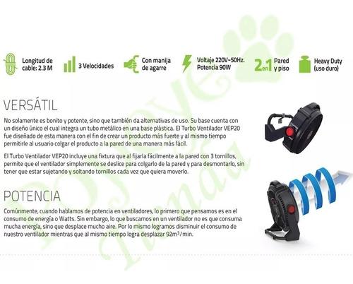ventilador turbo clever piso pared 20 3 vel. 90 watts gk