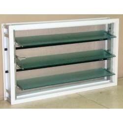 ventiluz aluminio blanco 100x36 con mosquitero y vidrio