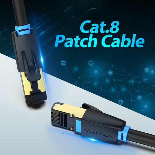 vention cable cat8 plano 3m red lan rj45 40gbps 2000mhz