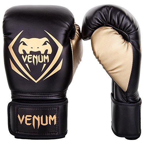 venum contender guantes de boxeo - negro / dorado - 16 onzas