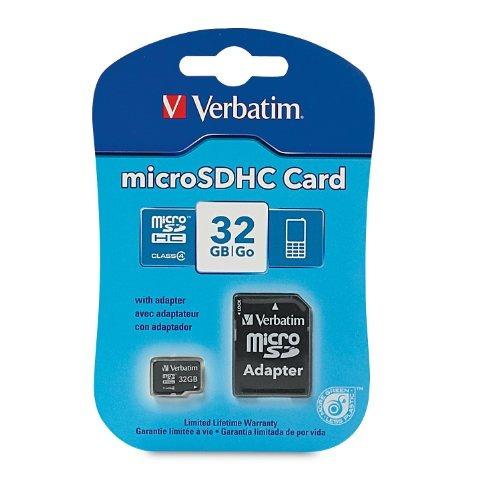 verbatim 32gb microsdhc card with adapter 97643