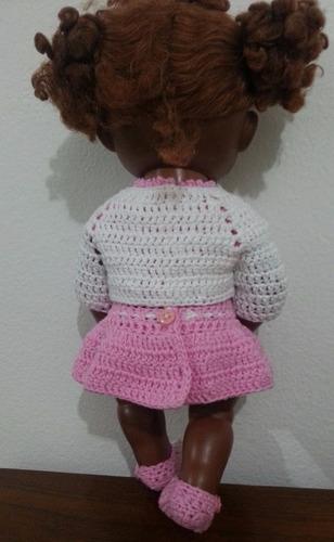 vestidinho crochê rosa com casquinho branco para baby alive
