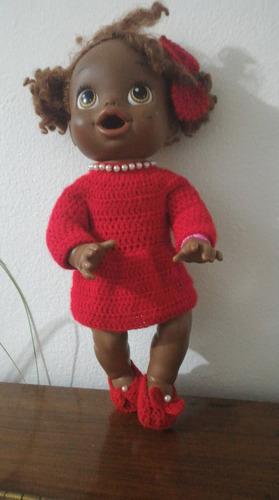vestidinho de crochê vermelho para baby alive e semelhantes