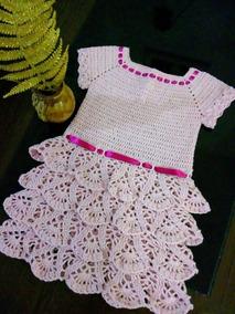 f5c78a386b5a Vestido De Crochê( 1 A 3 Meses) - Roupas de Bebê no Mercado Livre Brasil