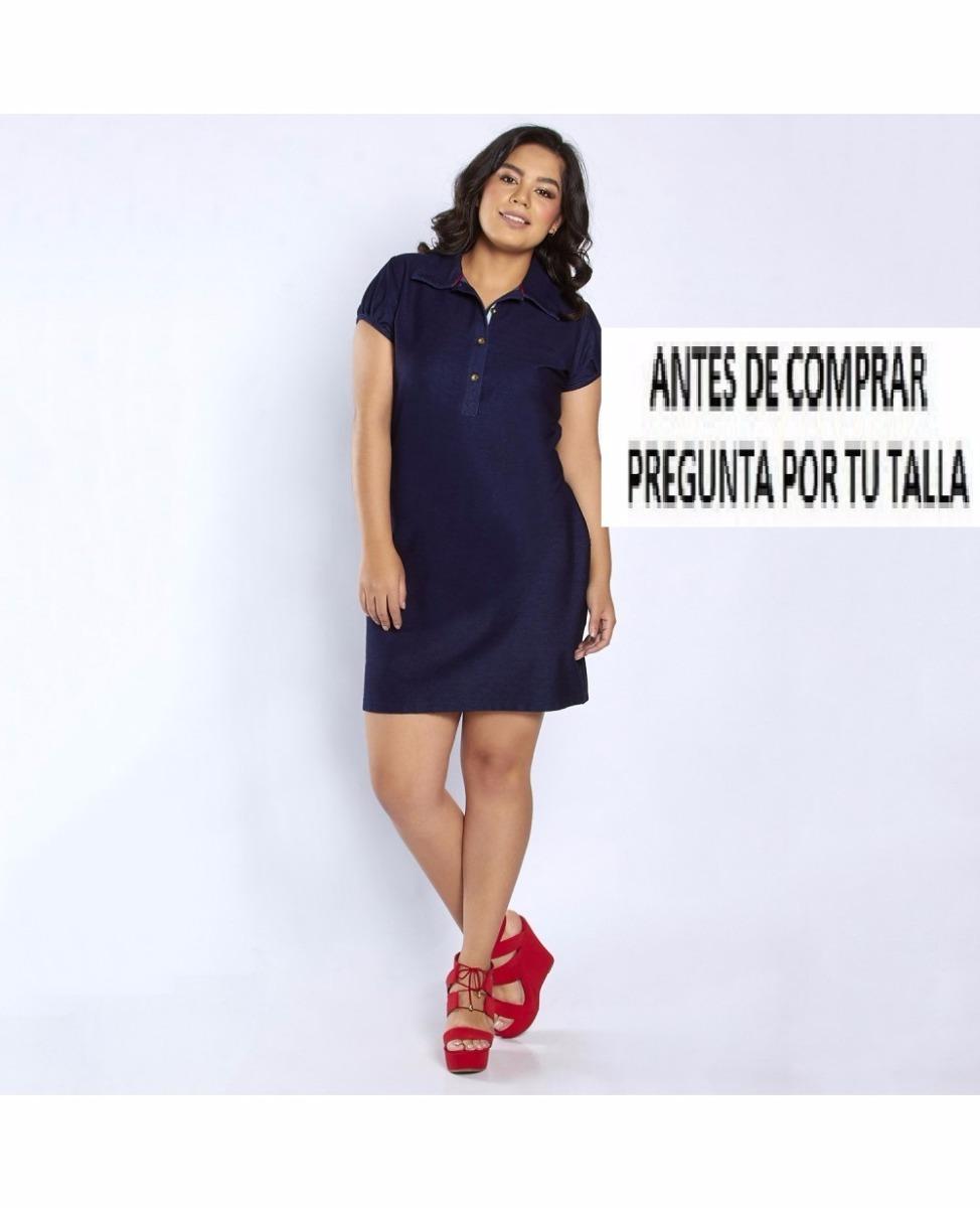 Vestido 12674 Mezclilla Cuello Polo Tallas Extras 34--40 -   399.00 ... a9c27a5ca1749
