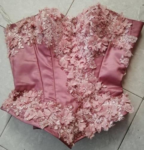 vestido 15 años color palo de rosa
