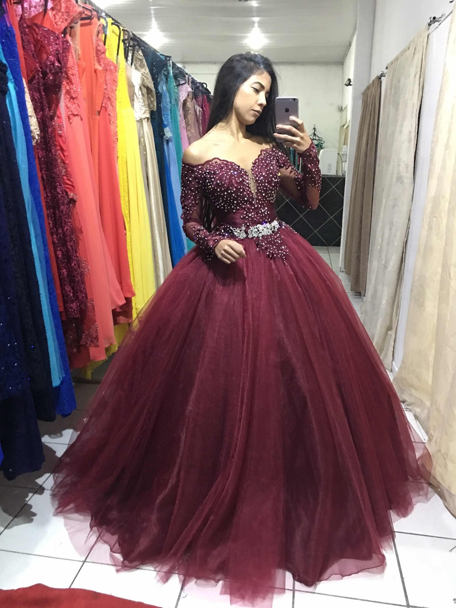d96e4ba71 Vestido 15 Anos Marsala Maravilhoso Mangas Longas - R$ 1.990,00 em ...