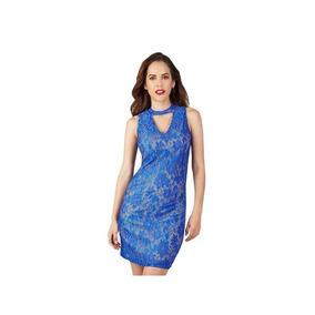 05958db53 Vestido 15416 Encaje Azul Cuello Choke Fiesta Moda Mexicana
