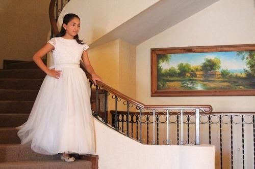 vestido 1era comunion tul encaje niña mod: daniela