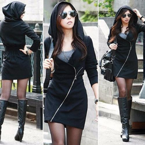 vestido 3 en 1 gabardina sudadera japonesa hoodie gorro 5121