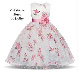 fc42e2786bf Vestido 3d Infantil Flor Festa Casamento Rosa 1 A 10 Anos