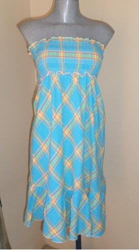 vestido a cuadros talla mediana elastico  drapeado superior
