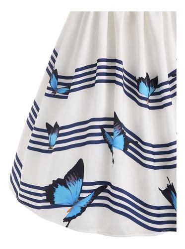 vestido a la rodilla sin mangas falda acampanada mariposas