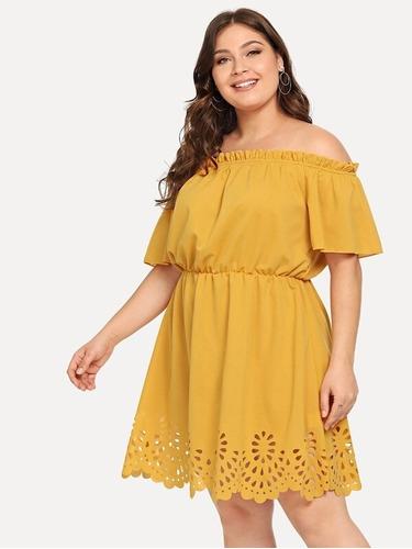 vestido abanico off shoulder plus size elegante