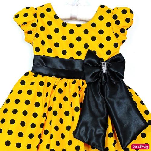 vestido abelha abelinha poa festa infantil luxo com tiara