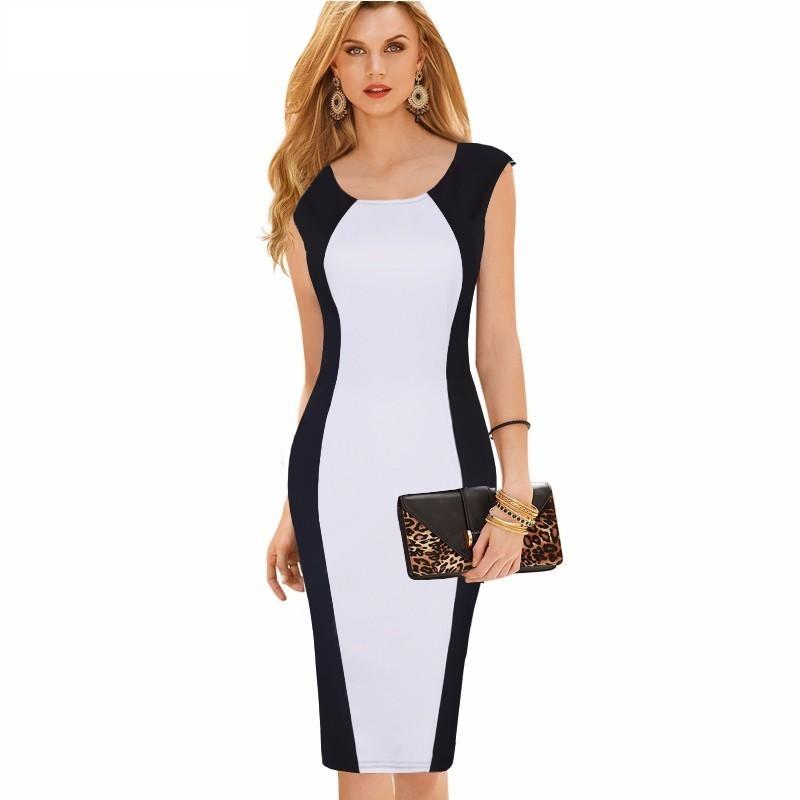 1d5388f6b5 Vestido Algodón Compuesto Con Gasa Corto Blanco negro