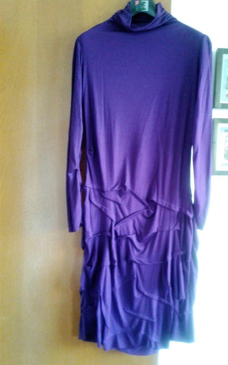 Vestido Algodon M.larga Dama Falda Volados T.large Violeta - $ 199 ...