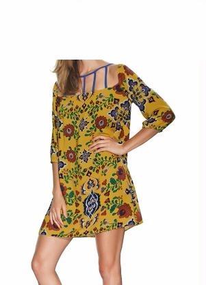 f84bb1839 Vestido Amarelo Floral De Viscose - R$ 85,00 em Mercado Livre
