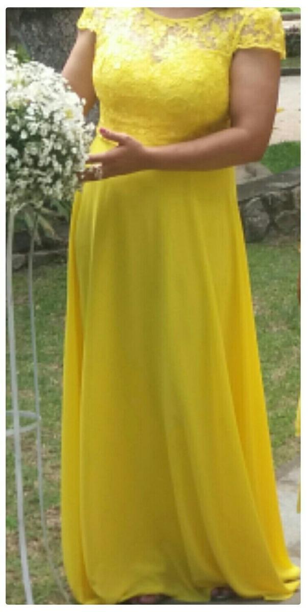 Vestido amarelo longo r 19900 em mercado livre vestido amarelo longo carregando zoom thecheapjerseys Choice Image