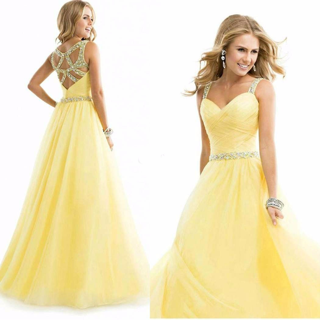 Vestidos de fiesta largos en color amarillo