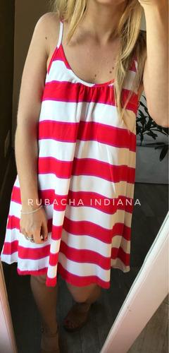 vestido amplio suelto rayado corto rubacha
