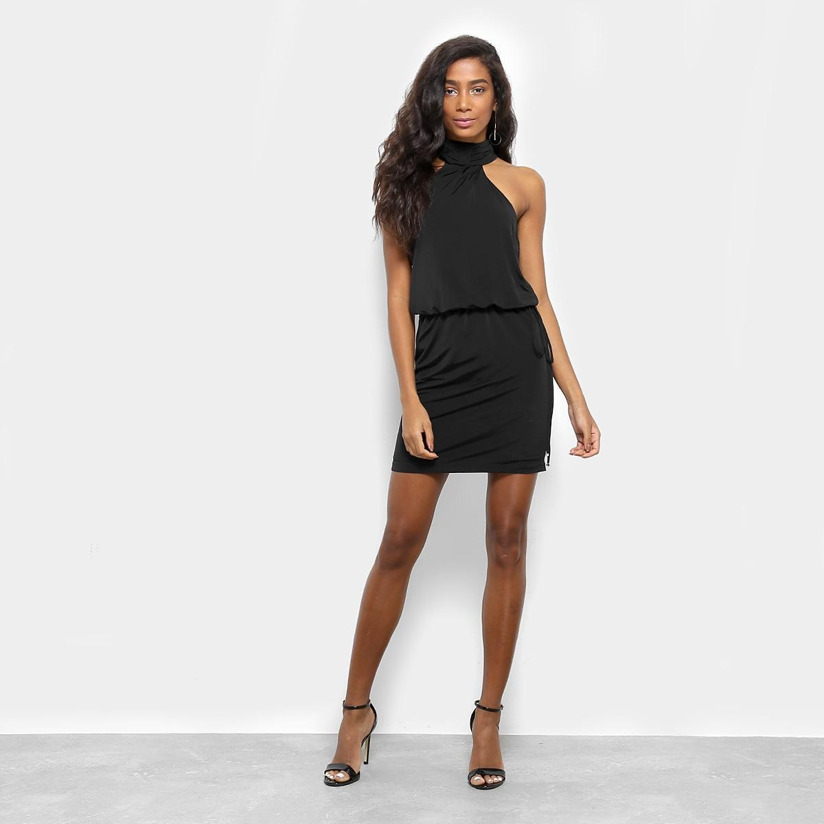 a589c00d5 vestido ana hickmann assimétrico curto gola alta - cor preto. Carregando  zoom.
