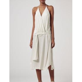 Vestido Animale Off White Midi Com Brilho Malha Novo Etiquet