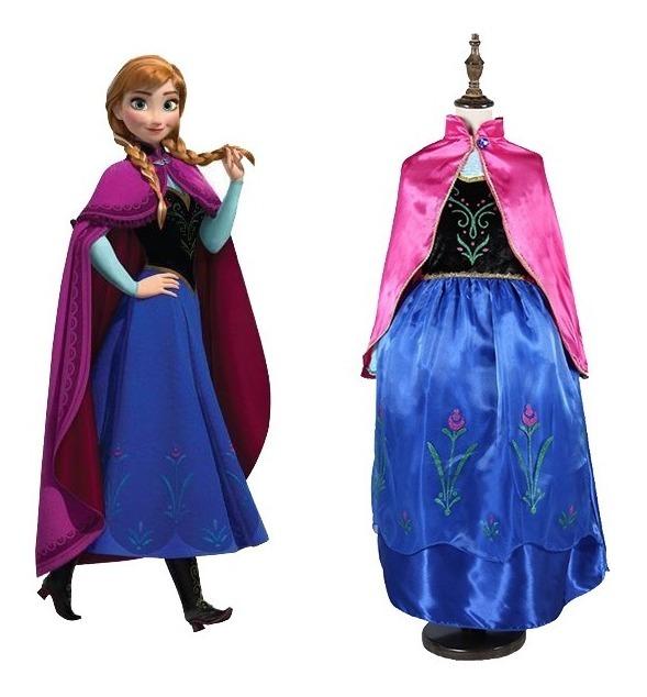 Vestido Anna Frozen 2 Infantil Princesa Capa Coroa Anel