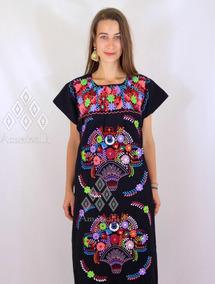 Vestido Artesanal Con Bordados Mexicanos Tipico De Manta