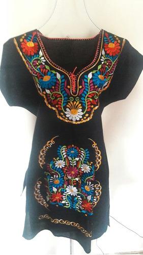 vestido artesanal mexicano kimona unitalla bordado textil