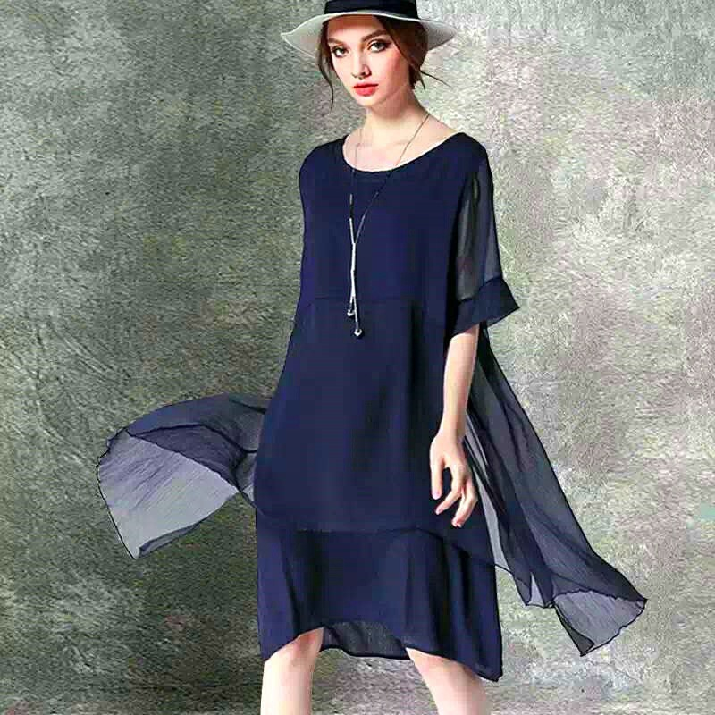 Vestido Asimetrico Fresco Mujeres Elegantes Ropa Holgada 99000